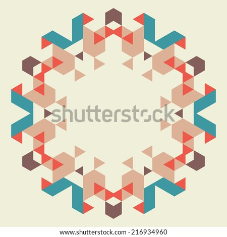Vector circular geometric background.Round isolated template consisting of triangular shapes - stock vector