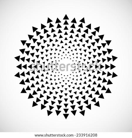 Vector Circular Halftone Dots in Triangles Form. Vector Logo Design Template. Business Icon.  - stock vector