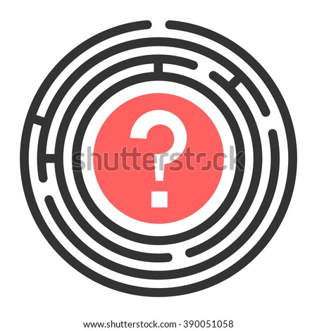 Vector Circular maze with no exit. Round labyrinth. Business concept is Not a Solving problem. Isolated on white background - stock vector