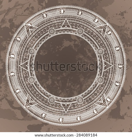 Vector circular pattern in the style of the Aztec calendar stone on a grunged background - stock vector