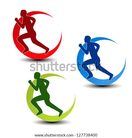 Vector circular symbol of fitness - runner silhouette, sport symbol, icon - stock vector