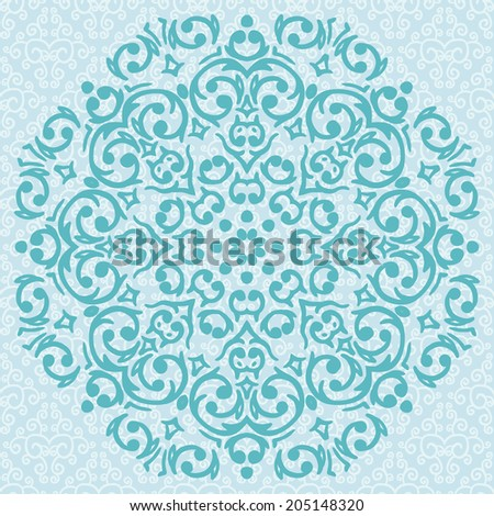 Vector circular turquoise ornament design / snowflake
