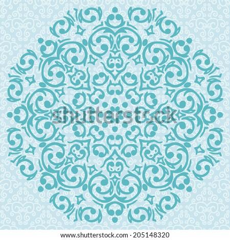 Vector circular turquoise ornament design / snowflake - stock vector