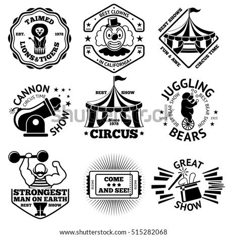 Vector Circus labels set. With lion, juggling bear on bike, clown, marquee, strong man, cannon man, magic wand and hat etc.