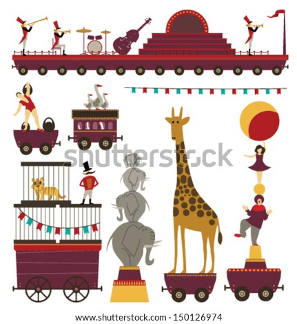 Vector Circus Train Elements Set #3 - stock vector