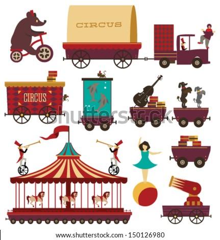 Vector Circus Train Elements Set #1 - stock vector