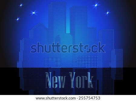 Vector citie glowing silhouette retro New York