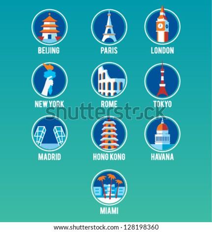 Vector Cities Icon Set - stock vector