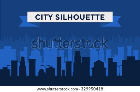 Vector cities silhouette. Dark night cities silhouette. Cities silhouette small town, cityscape buildings. Night city silhouette, city vector illustration. Skyscrapers silhouette. Business center city - stock vector
