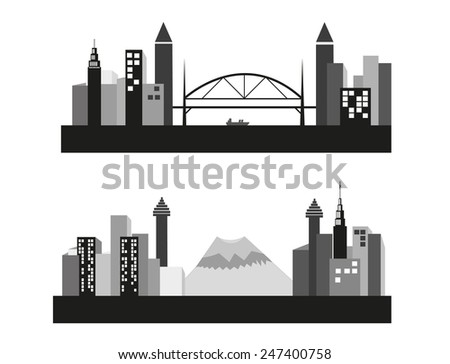 vector cities silhouette with bridge and mountain - stock vector