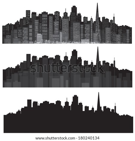 Vector cities silhouettes. - stock vector