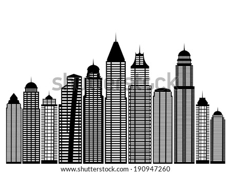 Vector cities silhouettes - stock vector