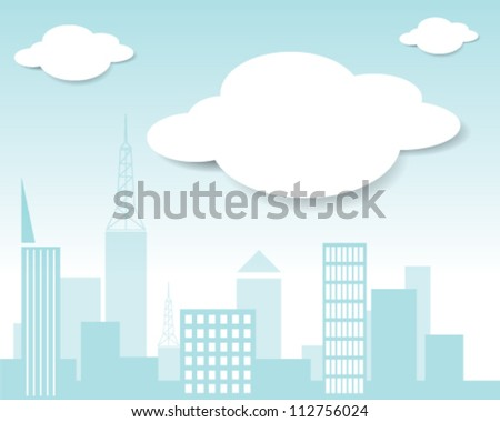 Vector city and cloud - stock vector