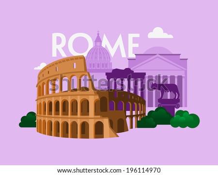 Vector city background. Rome - stock vector