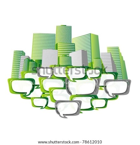vector city background with speech bubbles - stock vector