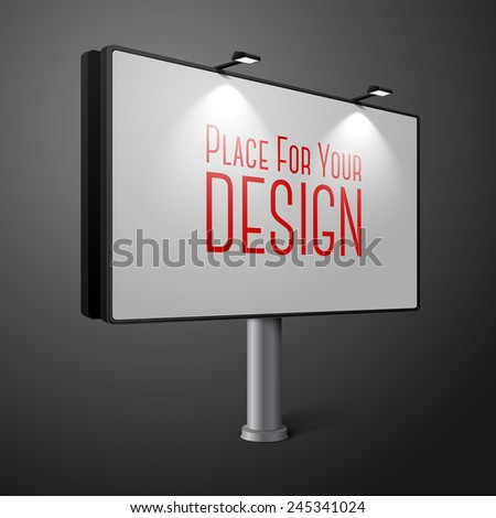 Vector city billboard with lamps, isolated on dark background. With place for your design and branding. - stock vector