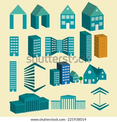 Vector city buildings icons set - stock vector