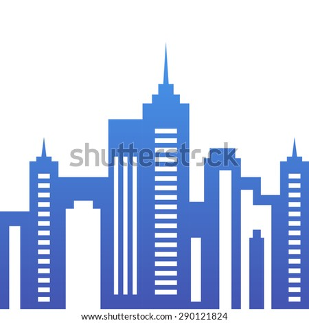 Vector city buildings silhouette, abstract blue background. Concept for real estate agency, building company, urban landscape, city life. - stock vector