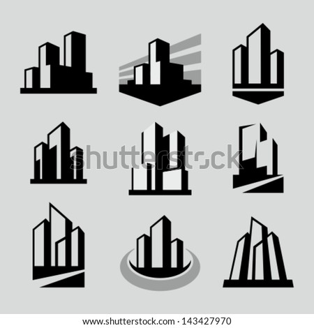vector city buildings silhouette icons stock vector 143427970