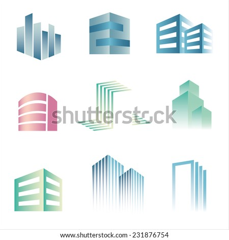 Vector city buildings silhouette icons - stock vector