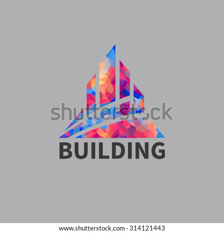 Vector city buildings silhouette icons. Made with colorful polygons composition. EPS10 vector file.
