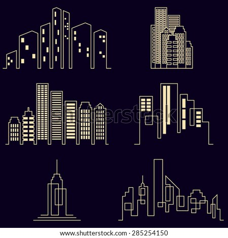 Vector city buildings silhouette icons, real estate on black background - stock vector
