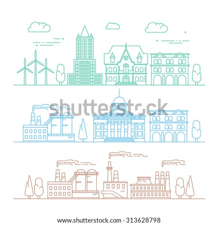 Vector city, environment and industry illustration in linear style - buildings and factories - graphic design template. - stock vector
