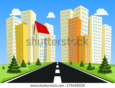 Vector city. High skyscrapers on a background of the blue sky - stock vector