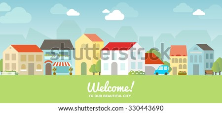 Vector city illustration in flat simple style - houses and buildings on horizontal banner - website headers. Sign Welcome to our beautiful city - stock vector