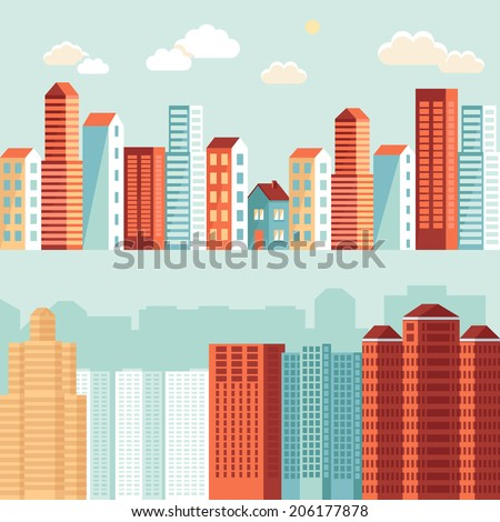 Vector city illustration in flat simple style - houses and buildings on horizontal banners - website headers - stock vector