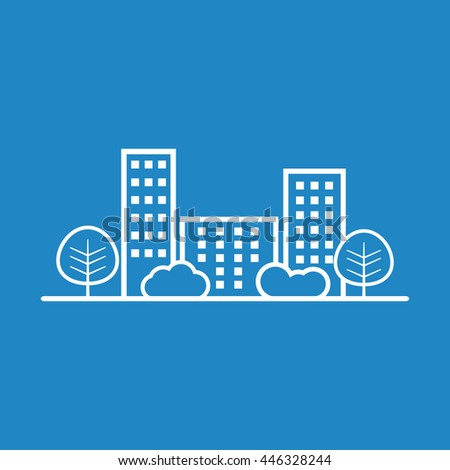 Vector city illustration in flat style. Building, tree and shrub on blue background - stock vector
