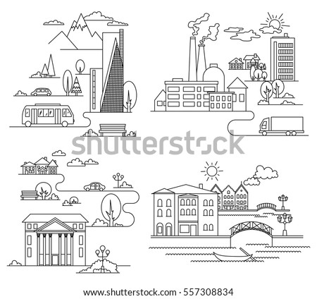 Urban Line Icons Landscape Linear Signs 428980186 on types of european cars