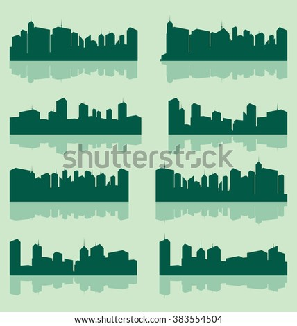 vector city lanscape set