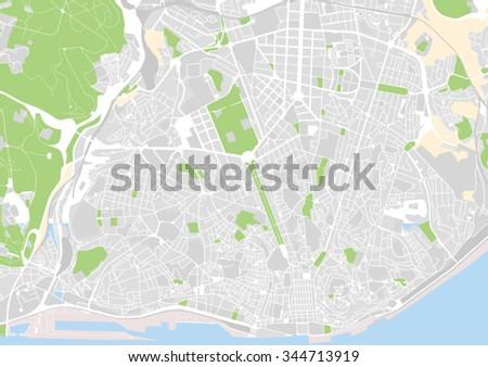 Vector City Map Lisbon Portugal Stock Vector 344713919 Shutterstock