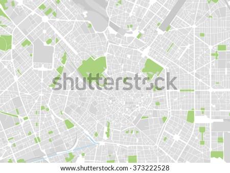 vector city map of Milan, Italy - stock vector