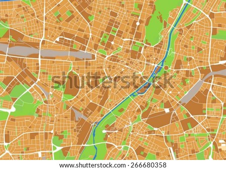 vector city map of Munich, Germany ca. 1:33.000 scale.  - stock vector