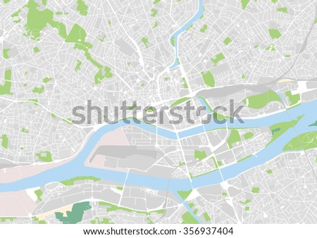 vector city map of Nantes, France