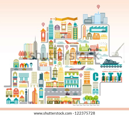 Vector city map with building. - stock vector