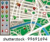 Vector city map with gps icon - stock vector