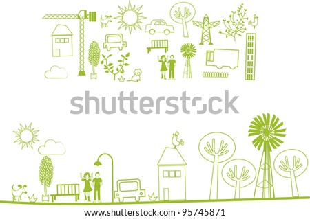 vector - city, nature elements - stock vector