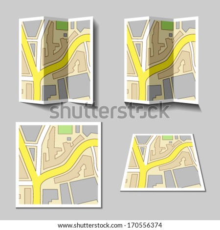 vector city navigation map icons - stock vector