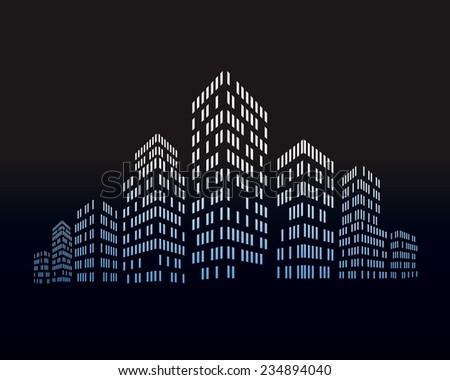 Vector city night - stock vector