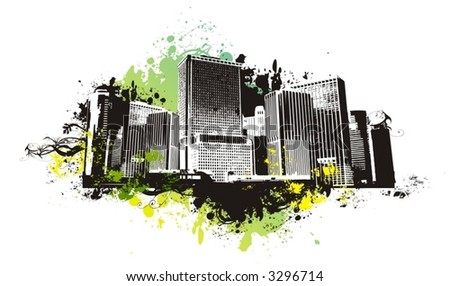 vector city scape,urban scene with grunge background - stock vector