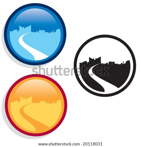 Vector city skyline icons in Web 2.0 style glassy buttons - stock vector