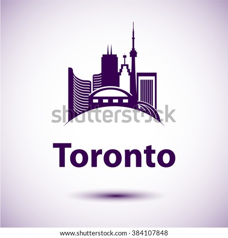 Vector city skyline with landmarks Toronto Ontario Canada. Vector illustration can be used as logo - stock vector
