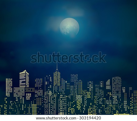 vector city skylines with cloudy moonlight