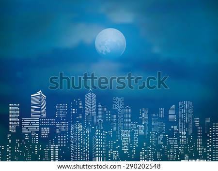 vector city skylines with full moon and clouds - stock vector