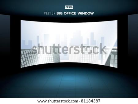 Vector City Through Big Office Window - stock vector