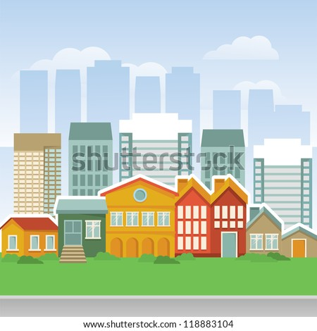 Vector city with cartoon houses and buildings - landscape - stock vector