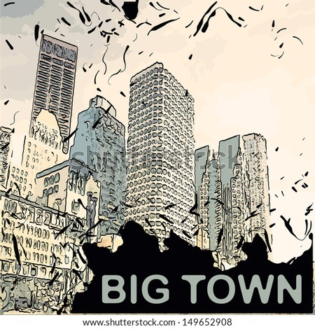Vector city with cartoon houses and buildings - skyscrapers 70-th look landscape - stock vector